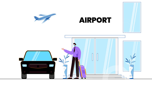 Businessman-Hailing-a-town-car-at-The-Airport-Vector